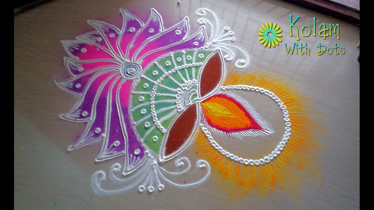 Diya Diwali rangoli designs with colours - Easy rangoli design for ...