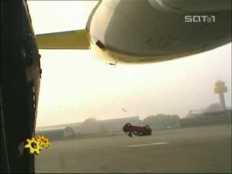 Jet blast destroying a car