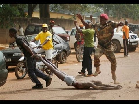 graphic footage central african republic police slapping and