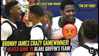 Bronny James CRAZY TRIPLE OT GAME WINNER VS BLAKE GRIFFIN'S TEAM!! RESPONDS TO HEATED OPPONENT!