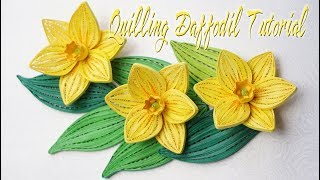 QUILLING DAFFODIL FLOWER TUTORIAL | quilling flor de narciso tutorial
