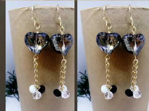 556ef7538c39 Aretes artesanales con flores y cristales moda para dama - YouTube