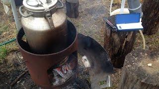 Абхазская чача на костре. Вторая дистилляция