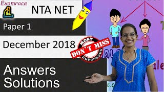 NTA UGC NET Paper 1 - 18th-22nd December 2018: Answers and Solutions (Memory Based)