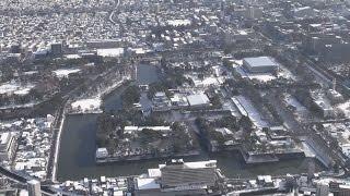 名古屋城も雪化粧 東海地方でも未明から雪