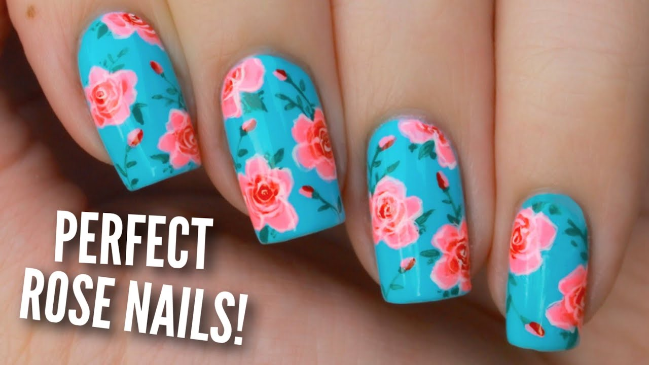 Paint Rose Nails Perfectly! - YouTube