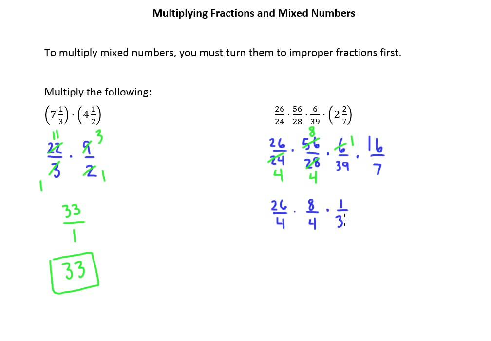 3.6b Multiplying Fractions and Mixed Numbers - YouTube