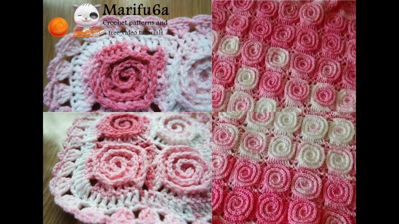 How to crochet spiral blanket flower afghan free pattern tutorial