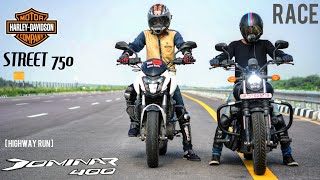 DOMINAR 400 VS HARLEY DAVIDSON STREET 750 | RACE | Highway | Ride Experience | Must watch!!!