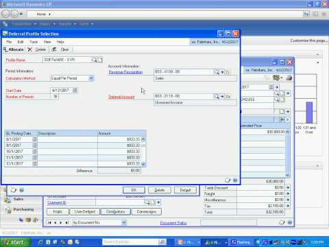 Revenue / Expense Deferral in Dynamics GP