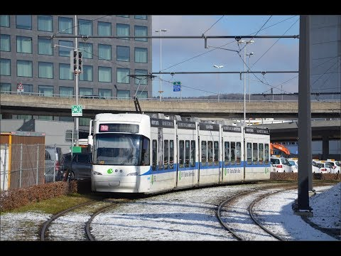 Trams in Zürich ZVV -Line 10 Alstom Cobra Flughtafen to Bahnhofplatz