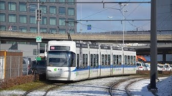 Trams in Zürich ZVV -Line 10 Bombardier Cobra Flughafen to Bahnhofplatz
