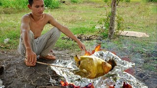 WILDNESS BRAVE : TRAVEL COOKING CHICKEN AND ALUMINUM | AMAZING DAY
