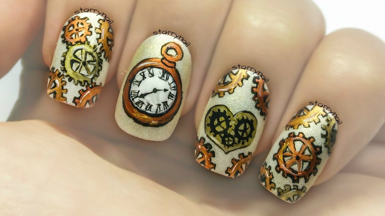 Steampunk watch gears freehand nail art youtube prinsesfo Images