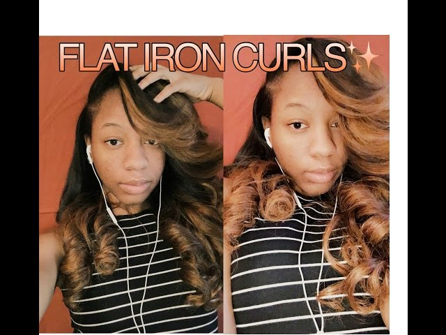 FLAT IRON CURLS ON WEAVE + Heavy BANG