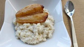 Creamy Rice Pudding with Vanilla Roasted Pears