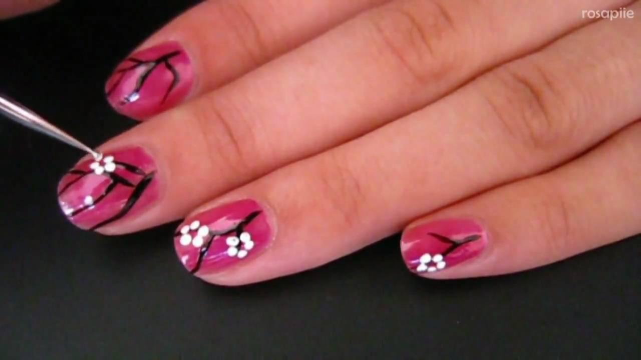easy cherry blossom nail art