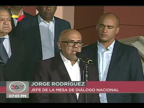 Claudio Fermín y Jorge Rodríguez declaran tras reunión de la Mesa de Diálogo Nacional con Maduro