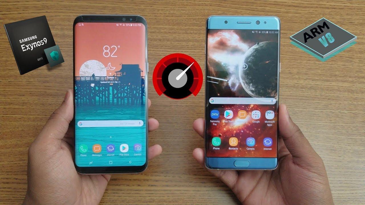 Samsung Galaxy Note Fe Vs Galaxy S8 Plus Speed Test Youtube