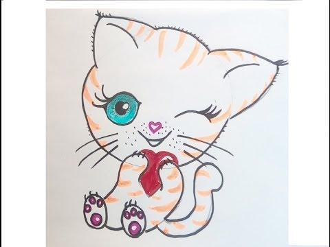 eine niedliche katze malen zeichnen lernen f r anf nger und kinder kawaii bilder tutorial. Black Bedroom Furniture Sets. Home Design Ideas
