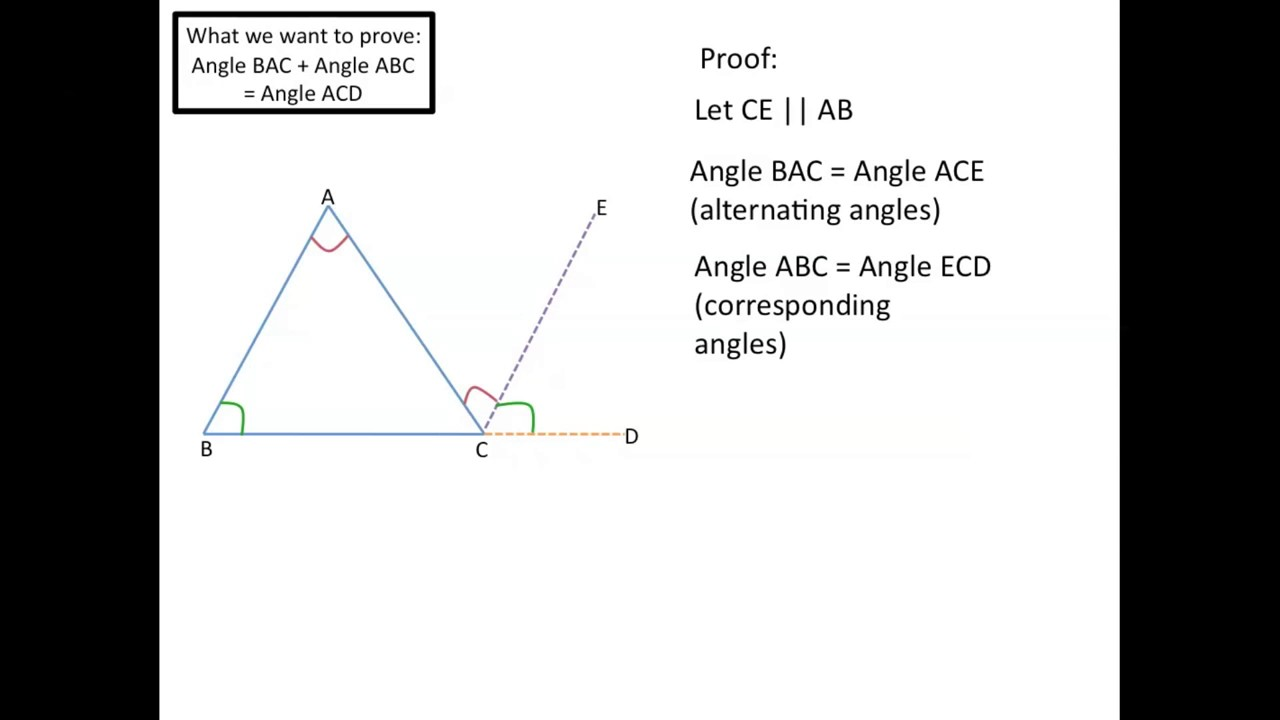 Exterior Angles equal Sum of Remote Interior Angles Triangle - YouTube