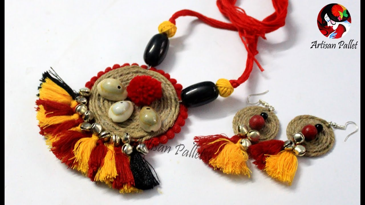 DIY Handmade Jute Jewelry Making   Jute Ornaments   Jute Jewellery Tutorial  @Artisan Pallet - YouTube