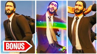 *DELETED BONUS SCENES* JOHN WICK SKIN SHOWCASED WITH 50 DANCE EMOTES! Fortnite