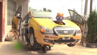 China: convierten auto averiado en Transformer
