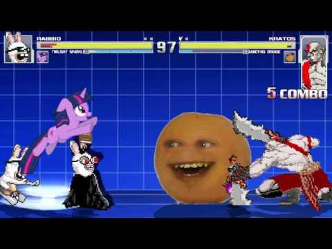 The Annoying Orange And Kratos VS The Rabbid U0026 Twilight Sparkle In A MUGEN Match / Battle / Fight