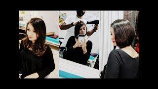 Mumbai's Girl Getting Long To Short Bob Haircut @La Filme Hair Studio