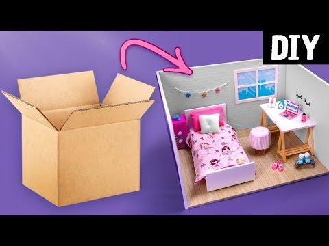 DIY Casa de Boneca 🏠 Como Fazer Quarto Tumblr da Barbie 😍 Reaproveitando Papelão