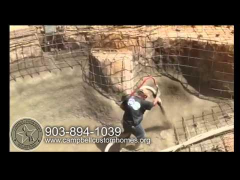 spraying gunite in swimming pool | east texas pools | Campbell Custom Homes