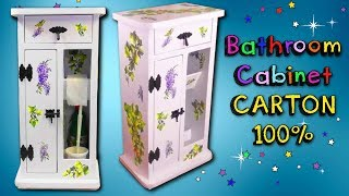 How to make a BATHROOM CABINET using CARDBOARD - inexpensive decorating ideas - MR. DIY