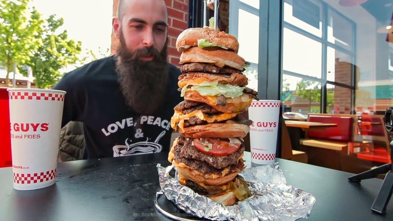 THE BIGGEST FIVE GUYS BURGER EVER CHALLENGE | BeardMeatsFood