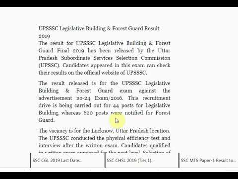 UPSSSC Legislative Building & Forest Guard Result 2019 Released on upsss...