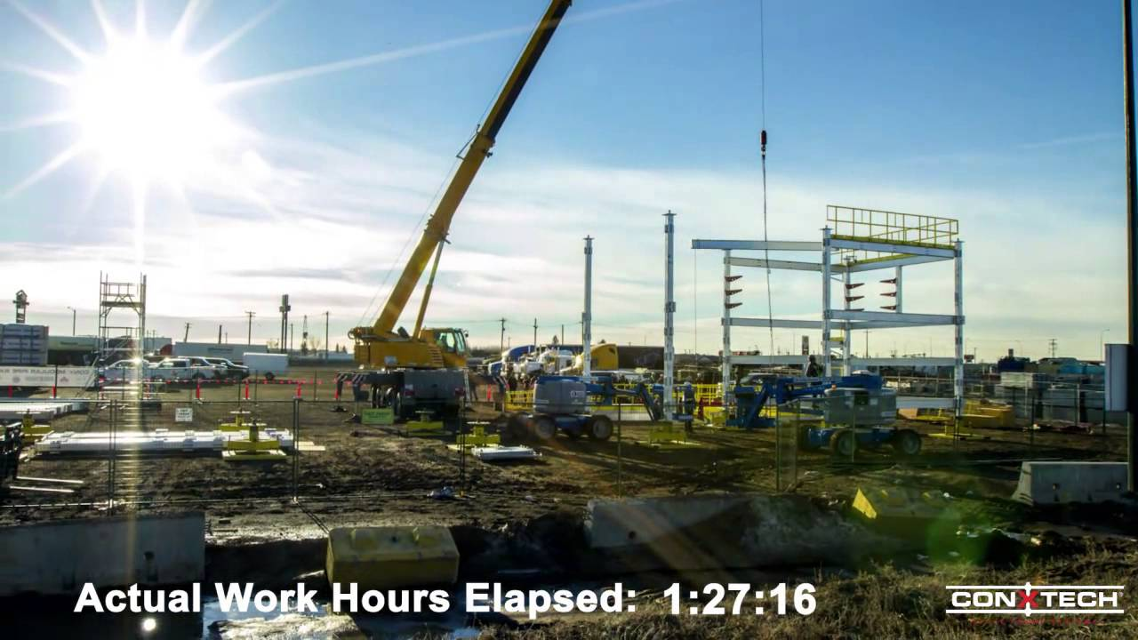 conx pipe rack module assembly alberta 4 9 14 time lapse