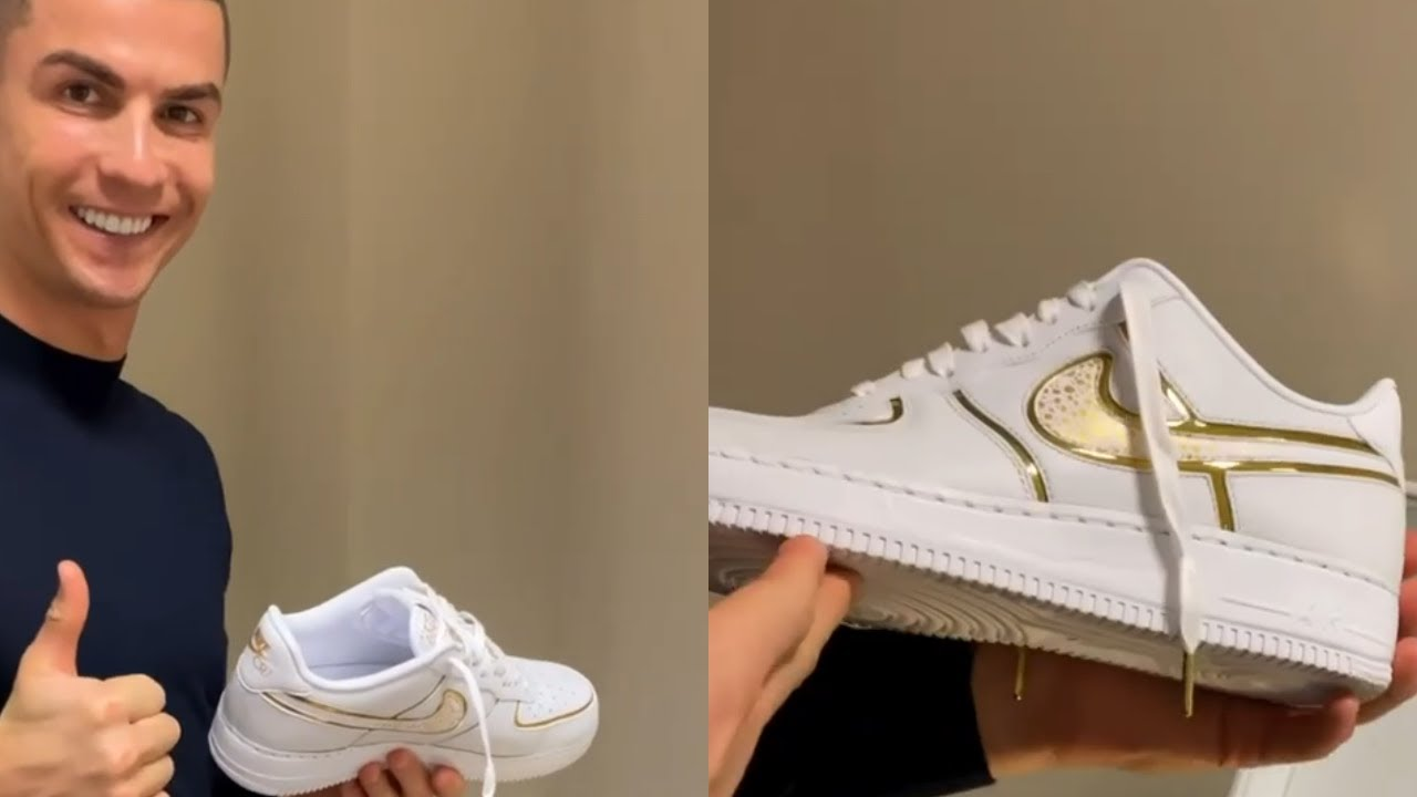 Cristiano Ronaldo Unboxes Nike Air Force 1 Low CR7 By You - YouTube
