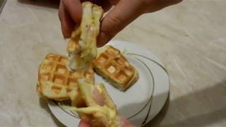 Бутерброд на завтрак с сосисками ЭЛЕКТРОВАФЕЛЬНИЦА GFW 015 Waffle