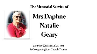 The Memorial Service for Mrs Natalie Geary