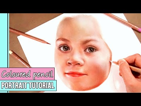 Coloured pencil portrait tutorial how to draw a face in coloured pencil part 1