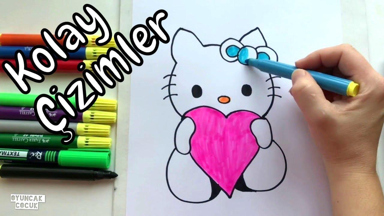 Kolay Cizimler Hello Kitty Nasil Cizilir Resim Cizimleri Youtube