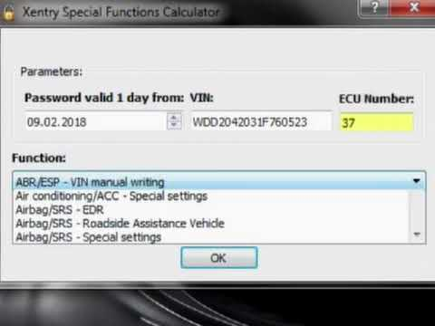 XENTRY SPECIAL FUNKTION PASSWORT GENERATOR FOR 2018 VERSION