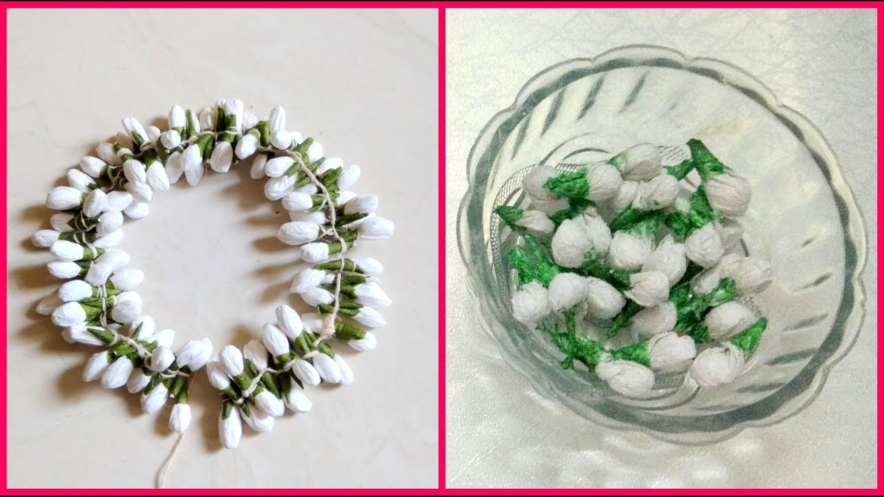 Diy how to make jasmine garlandgajra using tissue paper diy how to make jasmine garlandgajra using tissue paper beautiful hair accessory 96 izmirmasajfo