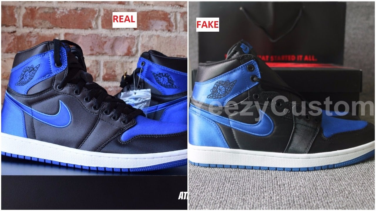 b83231c2f64f14 Fake Air Jordan 1 Royal Satin Spotted- Quick Tips To Avoid It - YouTube
