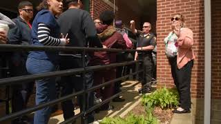 Parents react to a lockdown at Bennie Dover Jackson Middle School