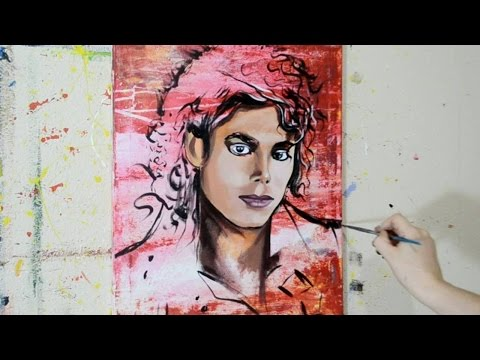 Painting a Portrait of Michael Jackson - Contemporary Pop Art Style