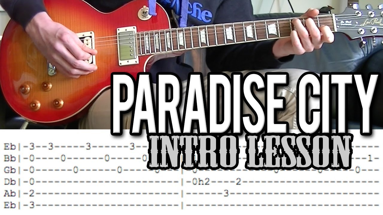 Guns Nroses Paradise City Intro Guitar Lesson With Tab Youtube