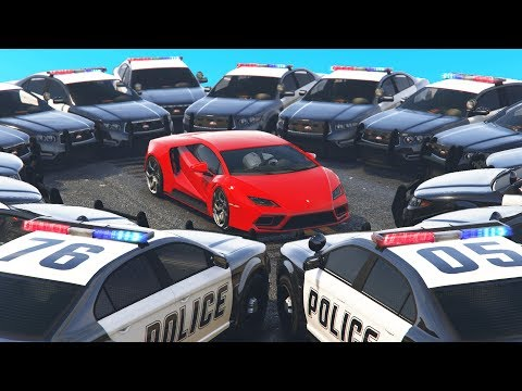 Boxed In By 20+ Cop Cars! (GTA Cops & Robbers)
