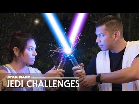 LIGHTSABER Battle! Husband vs. Wife - Star Wars: Jedi Challenges
