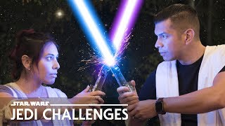 LIGHTSABER Challenge! Husband vs. Wife - Star Wars: Jedi Challenges